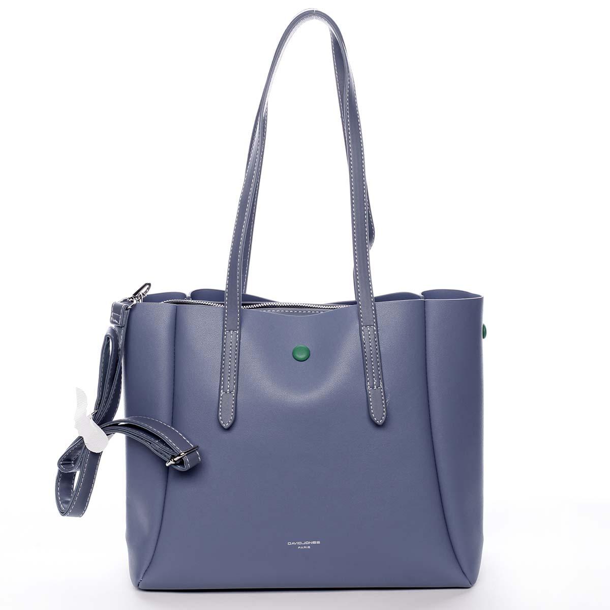 Módna dámska modrá kabelka cez rameno - David Jones Praline modrá