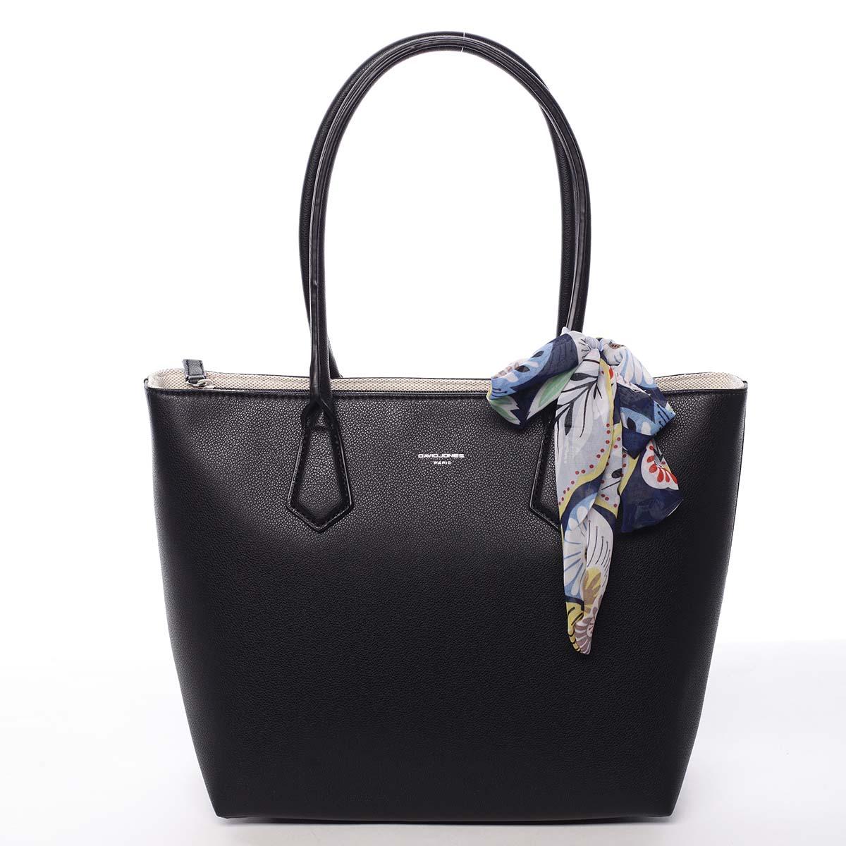 Veľká dámska kabelka cez rameno čierna - David Jones Lowe čierna