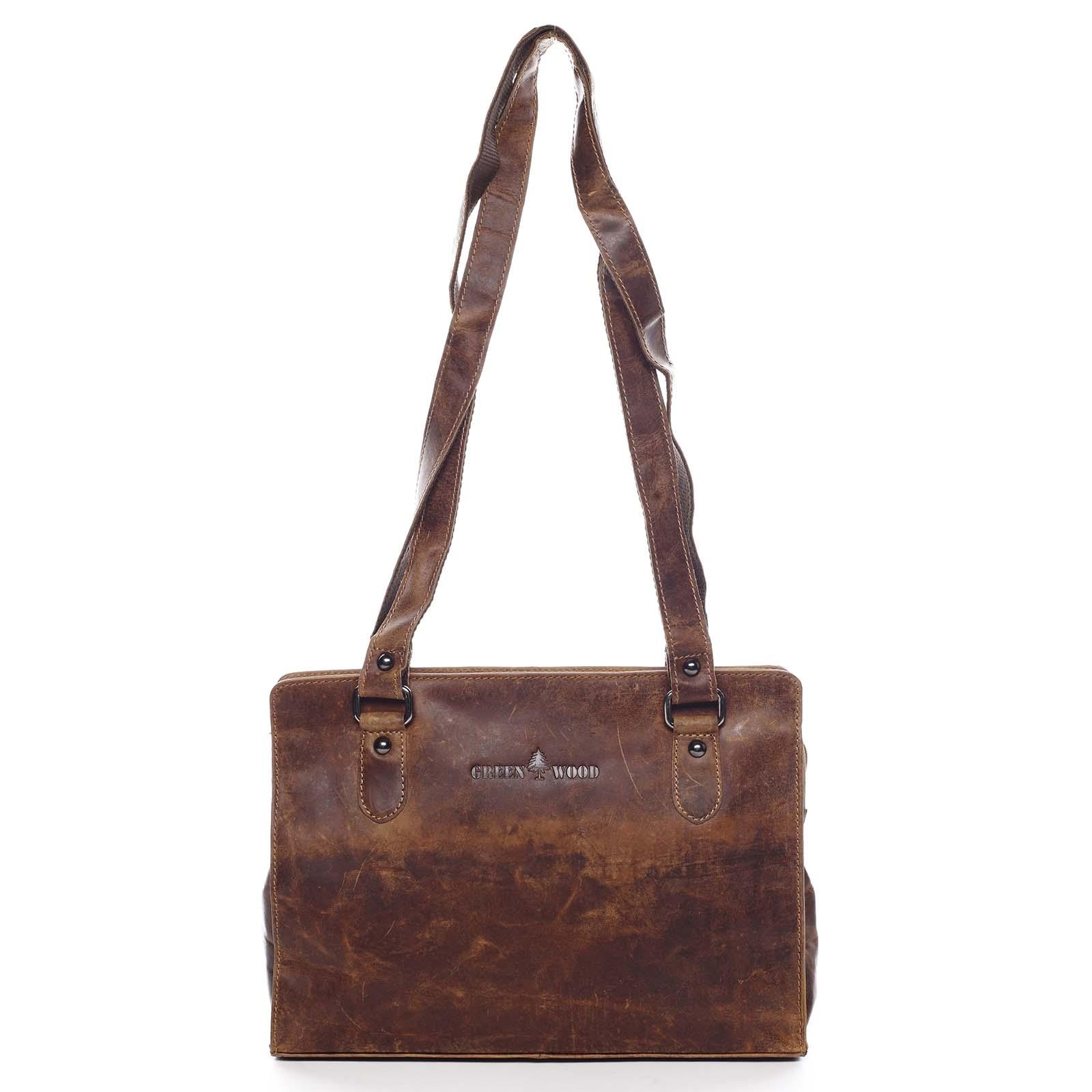 Dámska kožená kabelka cez rameno hnedá - Greenwood Kamille hnedá