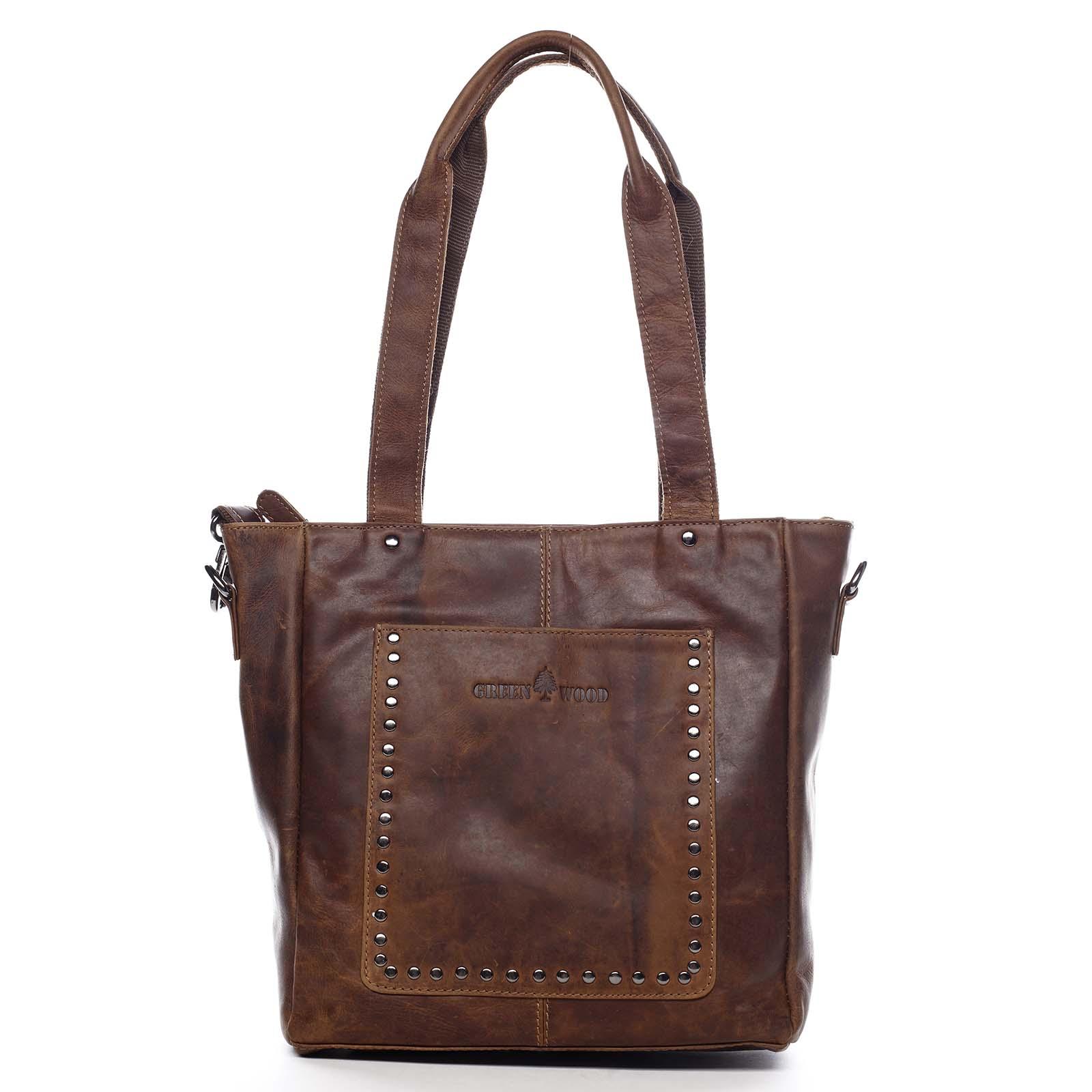 Dámska kožená kabelka cez rameno hnedá - Greenwood Gonna hnedá
