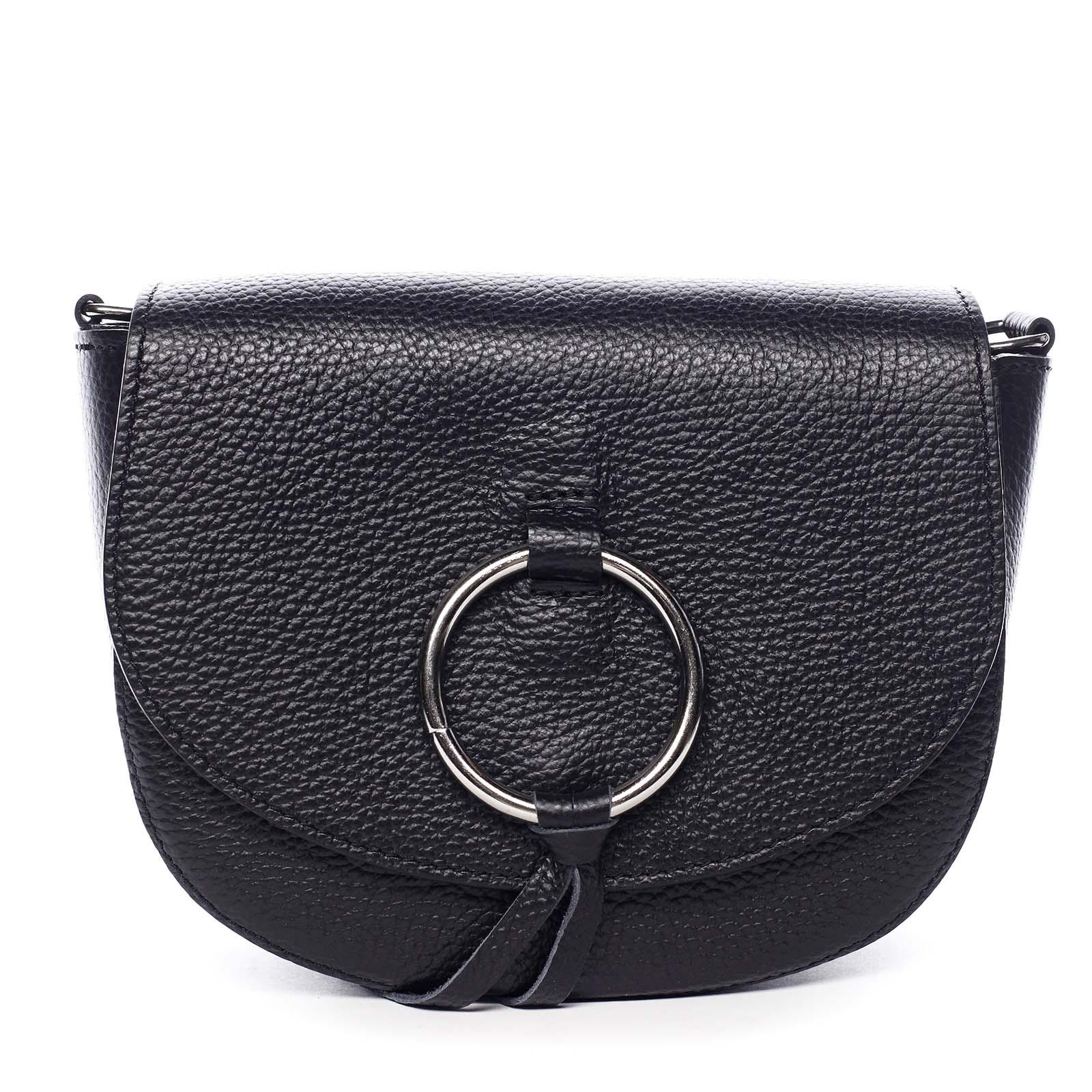 Dámska kožená crossbody kabelka čierna - ItalY Vaiana čierna