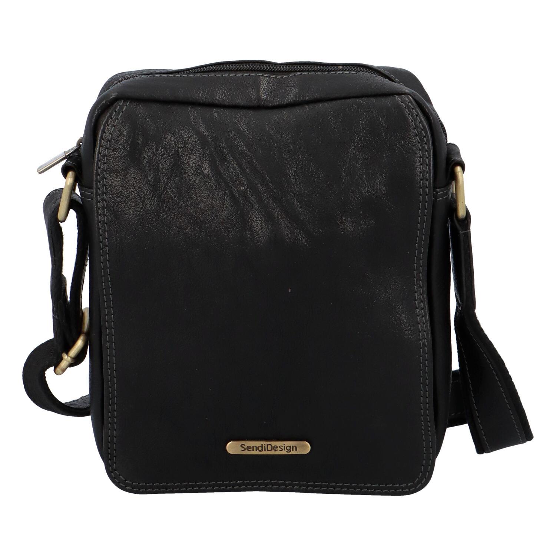Pánska kožená taška na doklady cez rameno čierna - SendiDesign Didier SP čierna