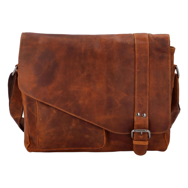 Pánska kožená taška cez rameno svetlo hnedá - Greenwood Castler hnedá