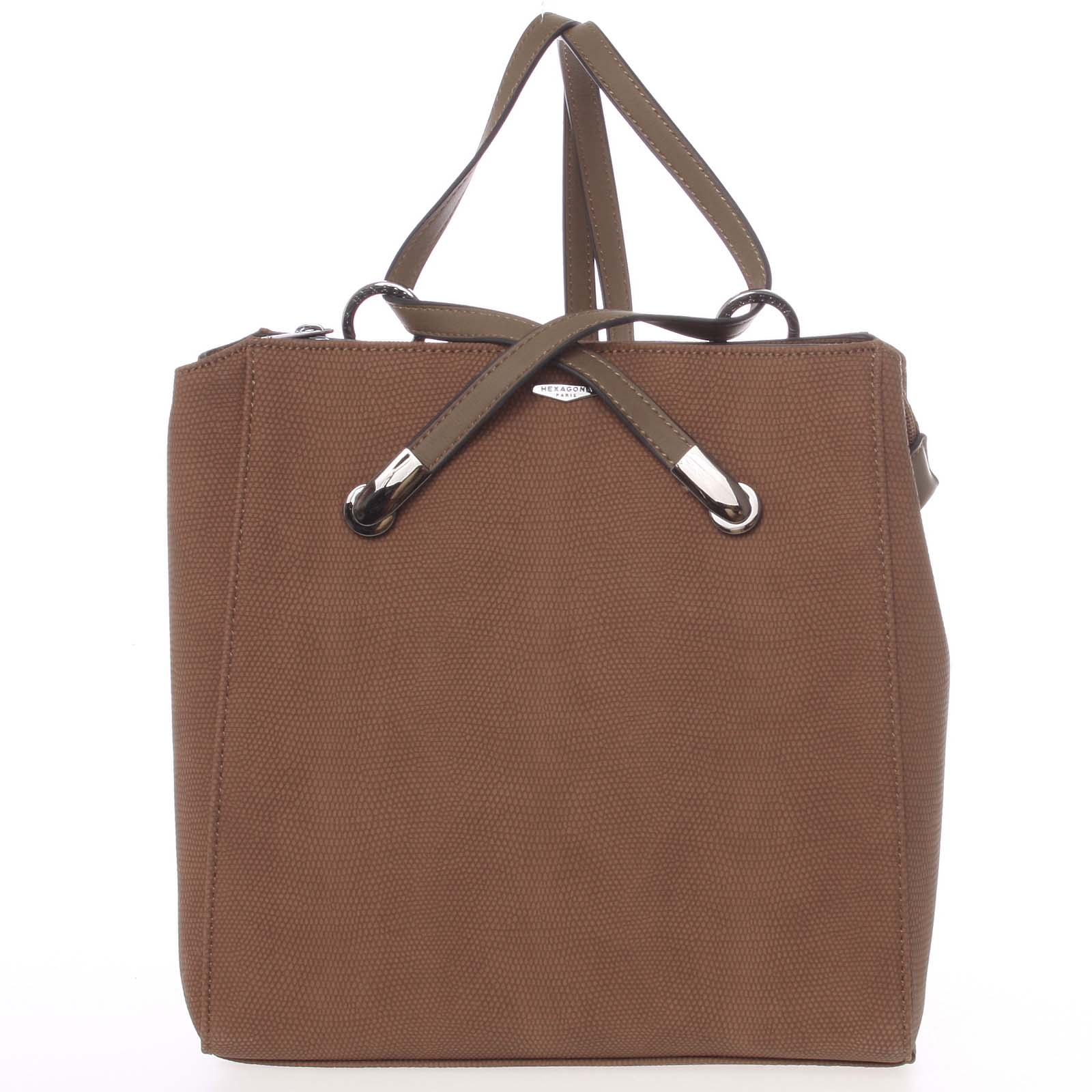 Elegantný štrukturovaný hnedý batôžtek/kabelka - Hexagona Bure hnedá