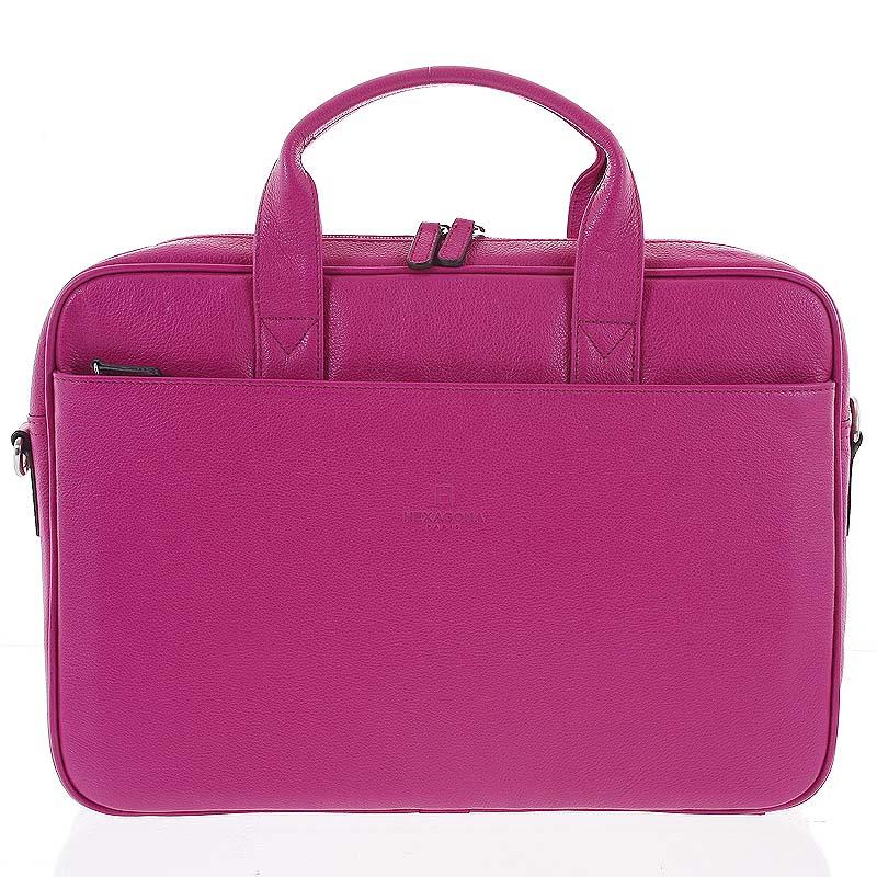 Fuchsiová kožená taška Hexagon 62544 ružová