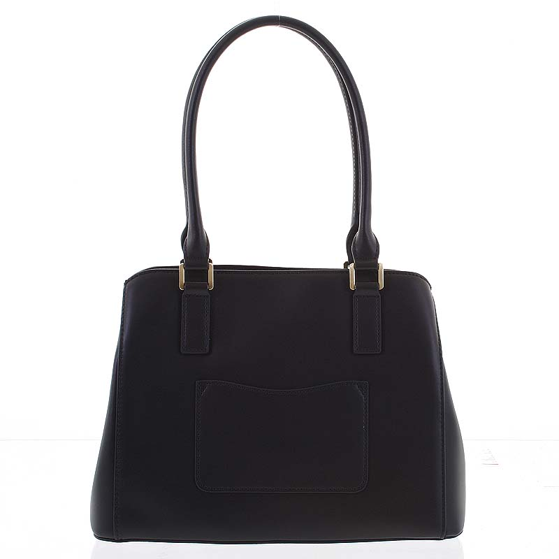 Módna dámska kožená čierna kabelka - Hexagona Zotico čierna