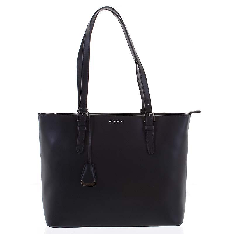 Veľká luxusná dámska kožená čierna kabelka cez rameno - Hexagona Zoie čierna