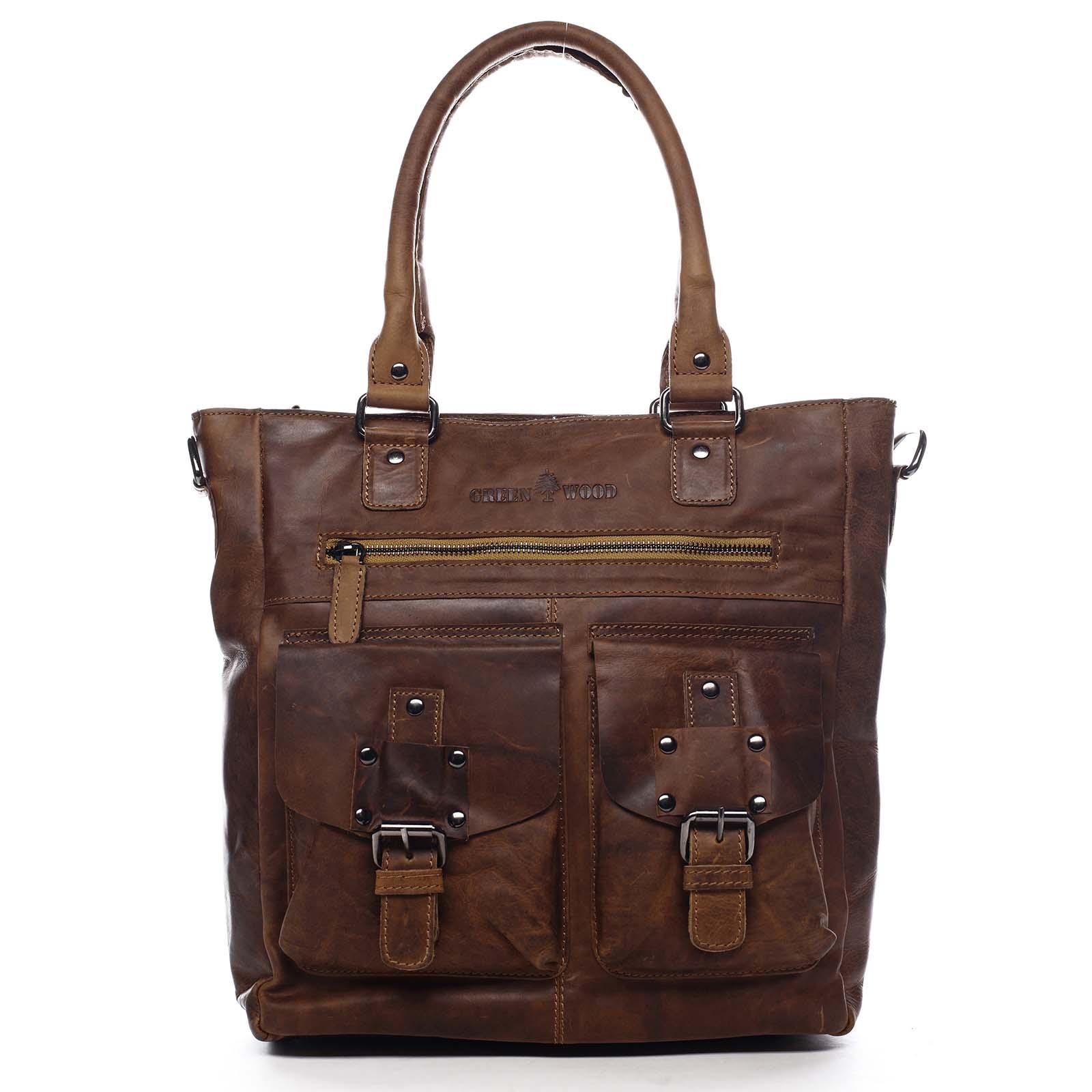 Dámska kožená kabelka cez rameno hnedá - Greenwood Gyraysy hnedá