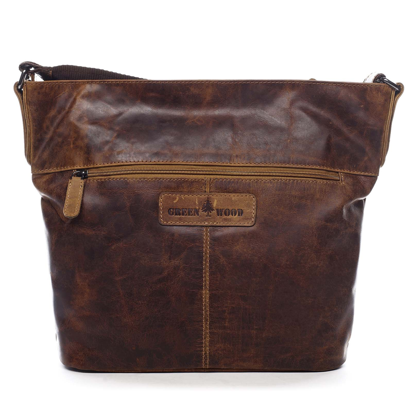 Dámska kožená kabelka cez rameno hnedá - Greenwood Fluxis hnedá