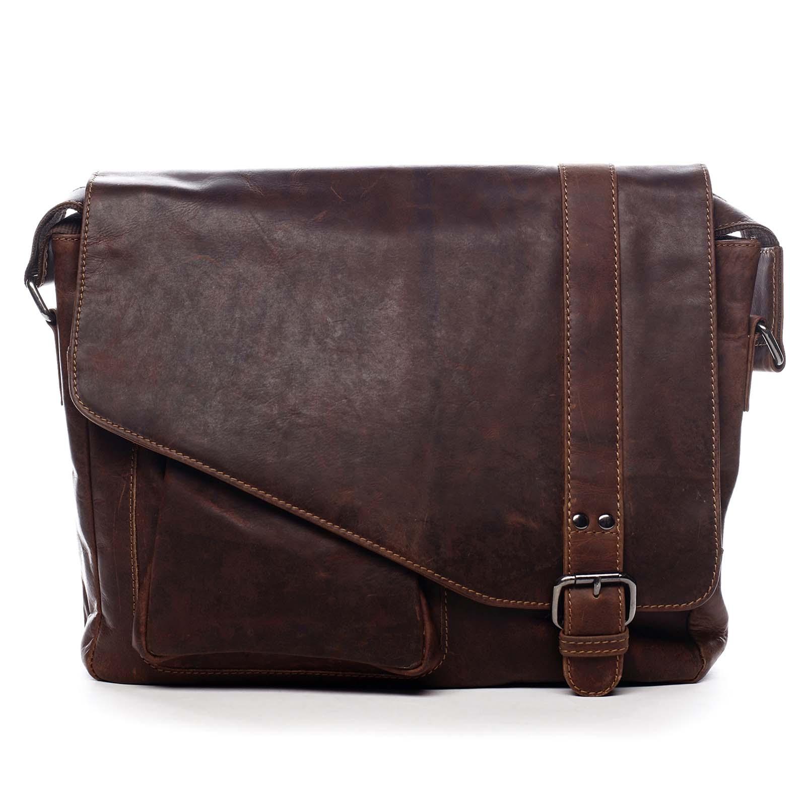 Pánska kožená taška cez plece hnedá - Greenwood Castler hnedá