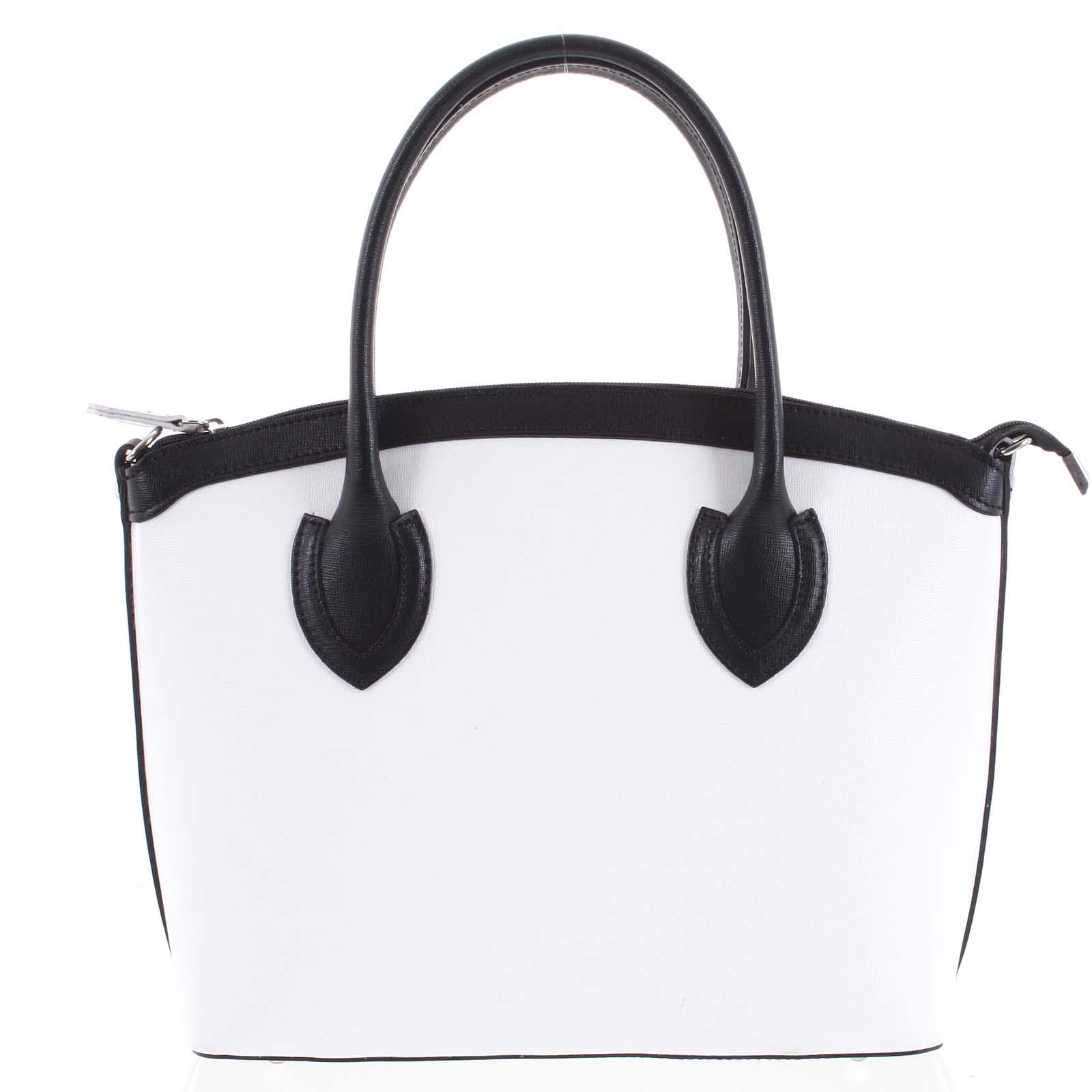 Dámska kožená kabelka biela - ItalY Garden čierná/biela