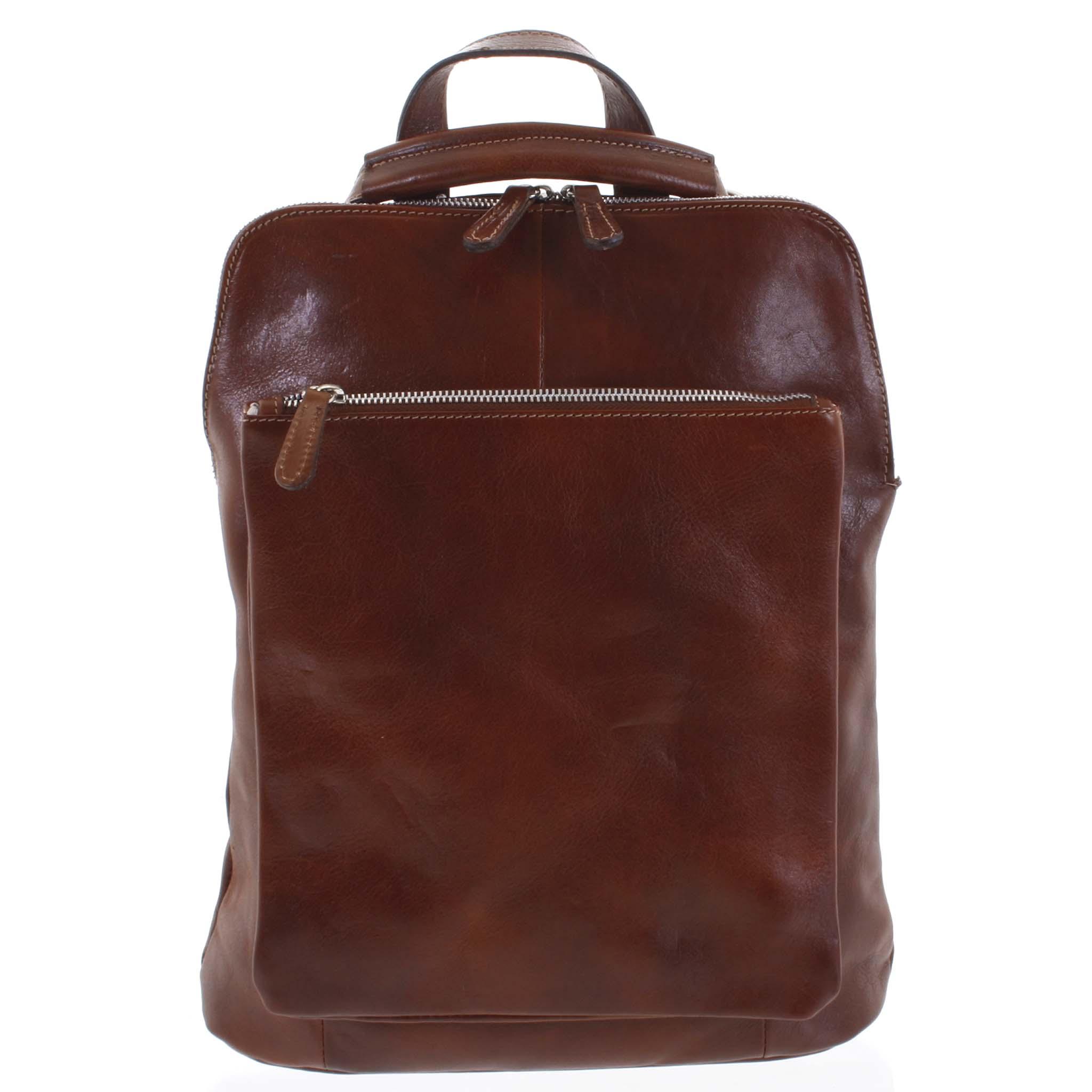 Dámsky kožený batoh kabelka hnedý - ItalY Englidis hnedá