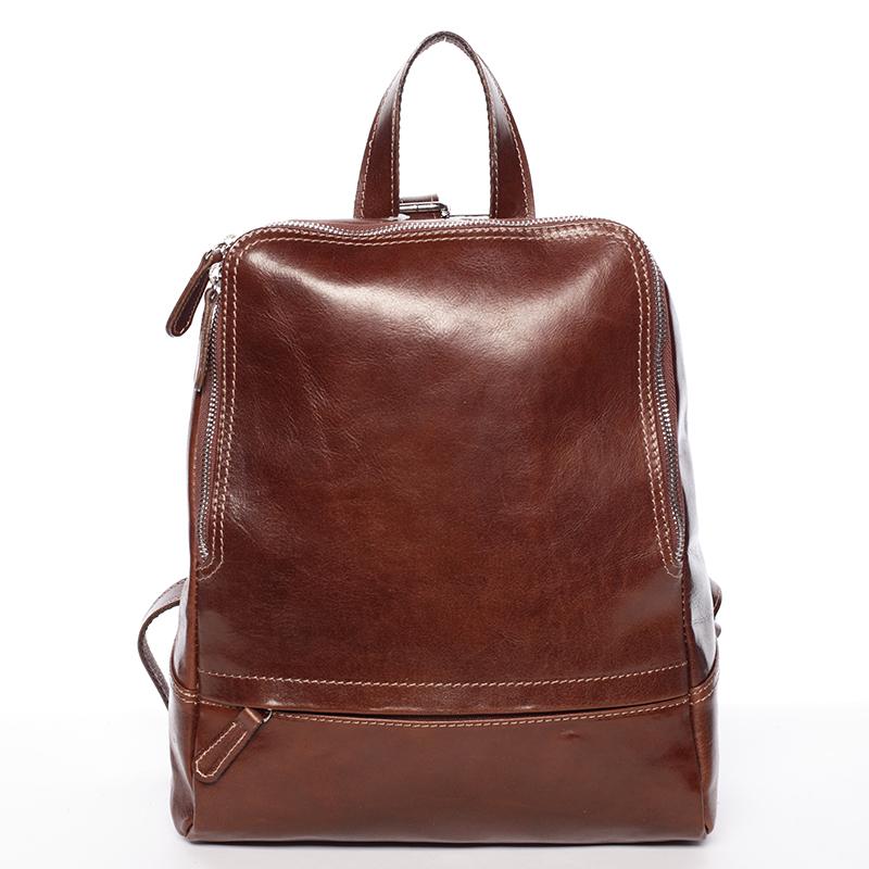 Dámsky kožený batoh hnedý - ItalY Zeus hnedá