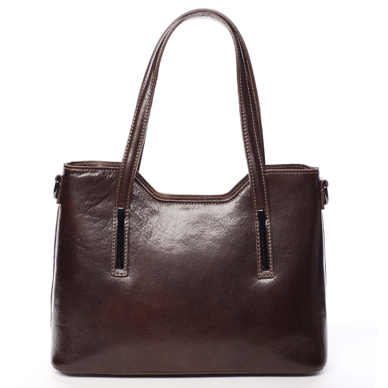 Stredná kožená kabelka tmavo hnedá - ItalY Chevell hnedá