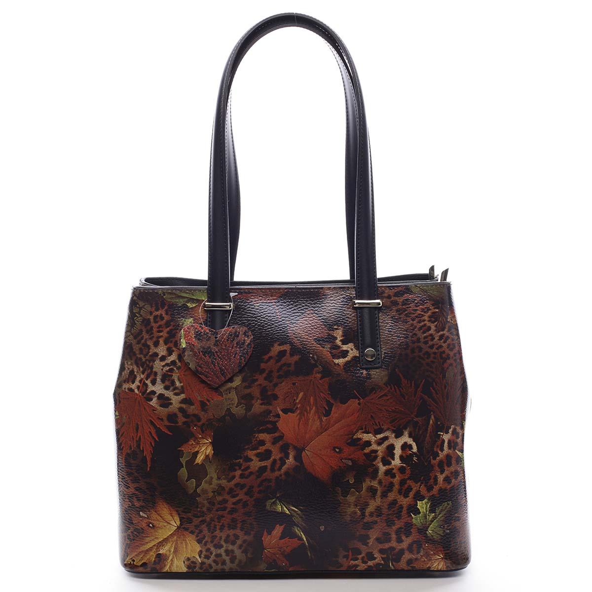 Exkluzívna dámska kožená kabelka jesenná čierna - ItalY Logistilla farebná
