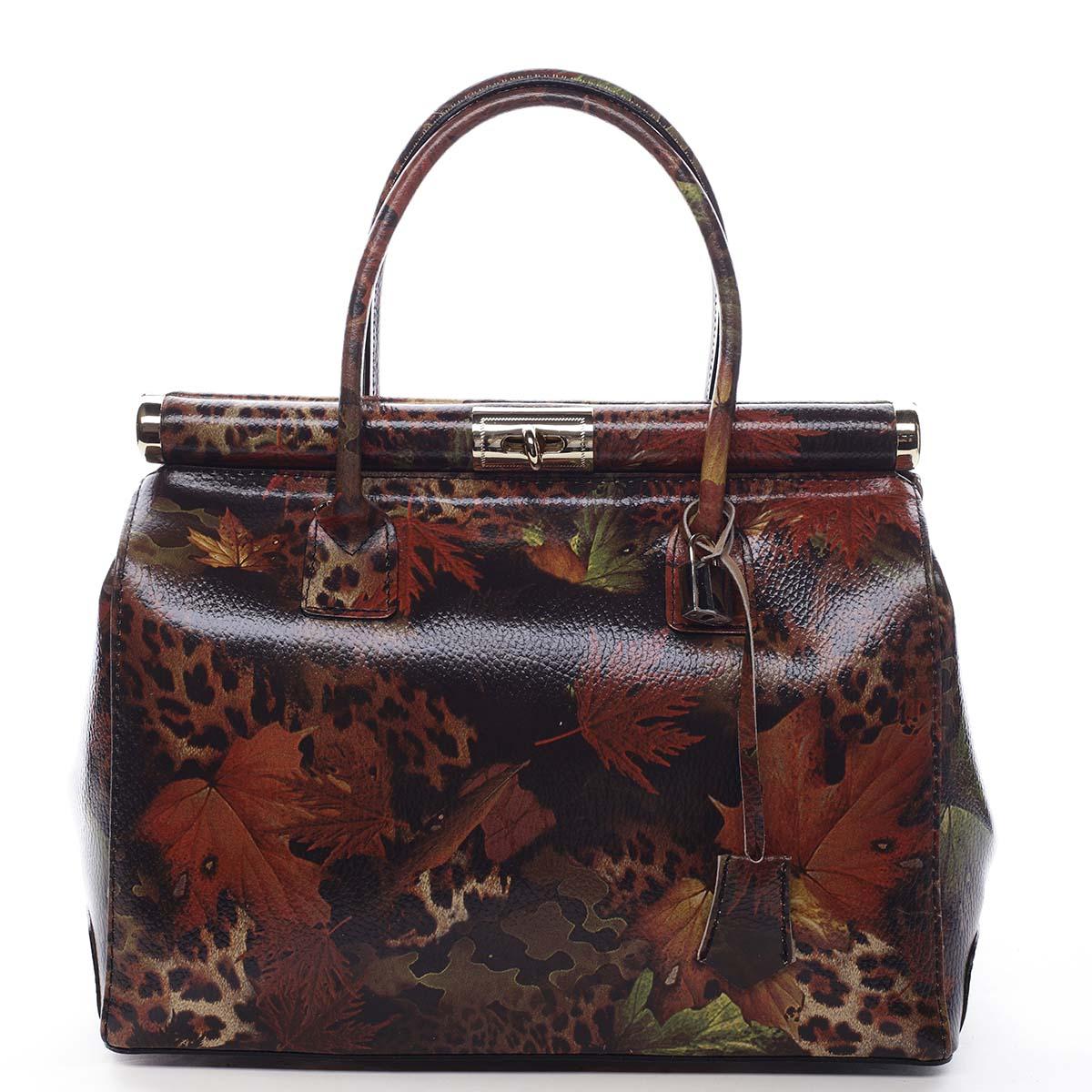 Módna originálny dámska kožená kabelka do ruky jesennej - ItalY Hila farebná