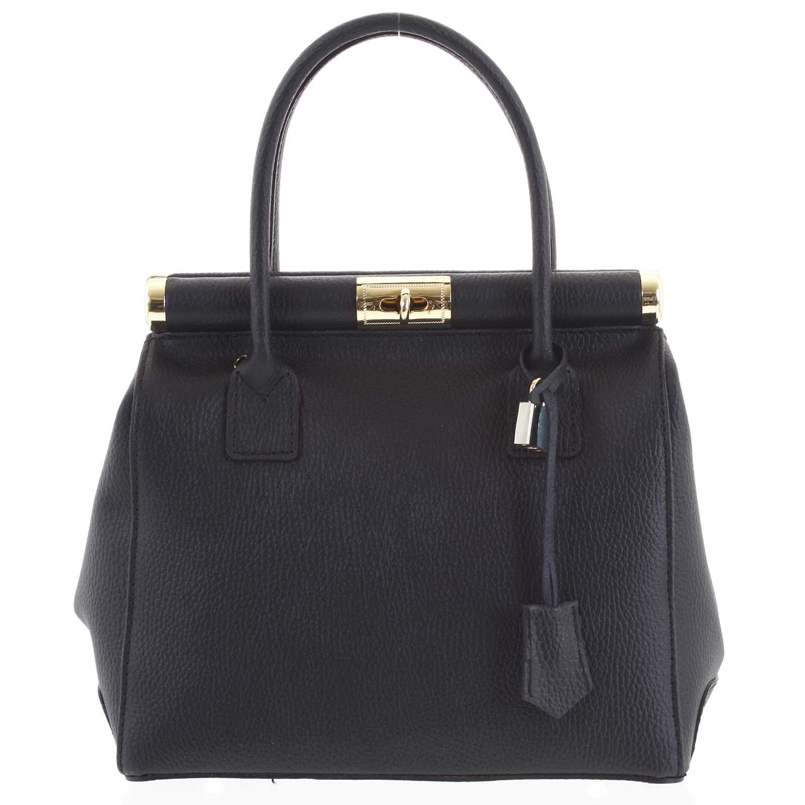 Luxusná dámska kožená kabelka do ruky čierna - ItalY Hyla čierna