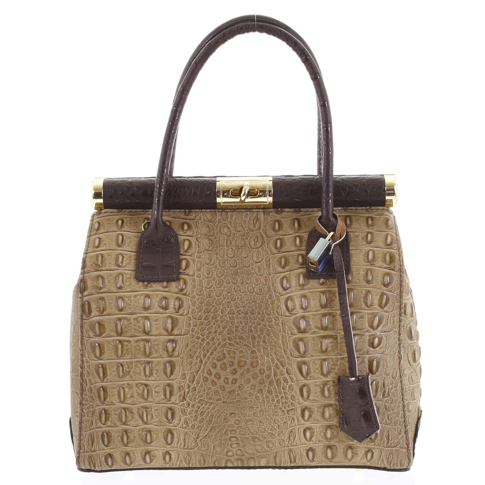 Luxusná dámska kožená kabelka do ruky béžová - ItalY Hyla Kroko béžová