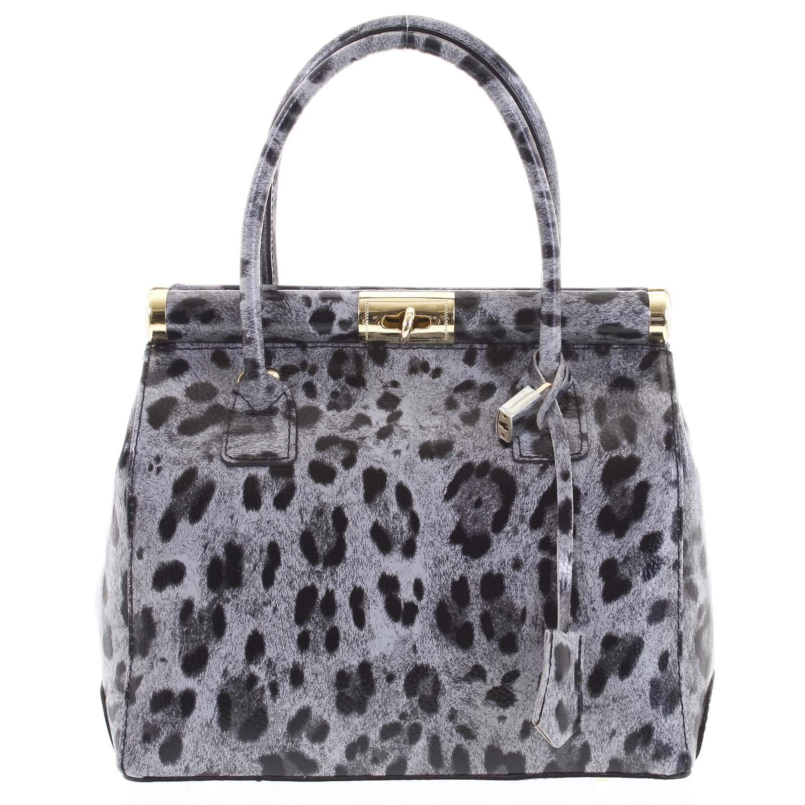 Luxusná dámska kožená kabelka do ruky sivá - ItalY Hyla Jaguar šedá