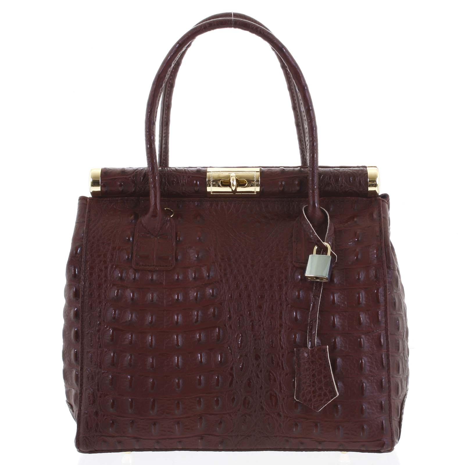 Luxusná dámska kožená kabelka do ruky bordová - ItalY Hyla Kroko vínová