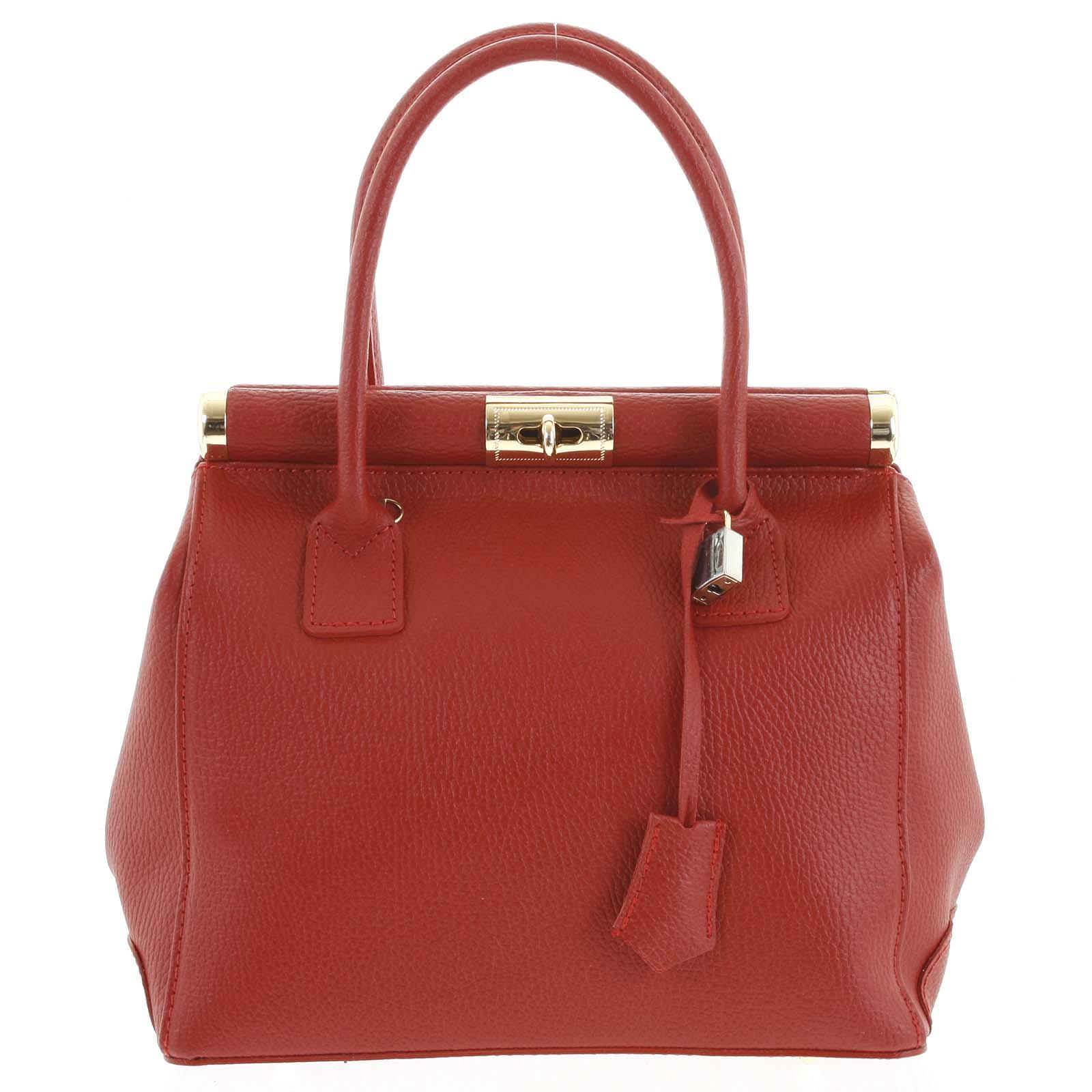 Luxusná dámska kožená kabelka do ruky červená - ItalY Hyla červená