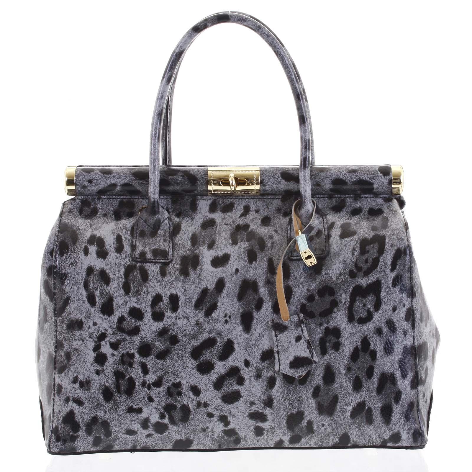 Módna originálny dámska kožená kabelka do ruky sivá - ItalY Hila Jaguar šedá