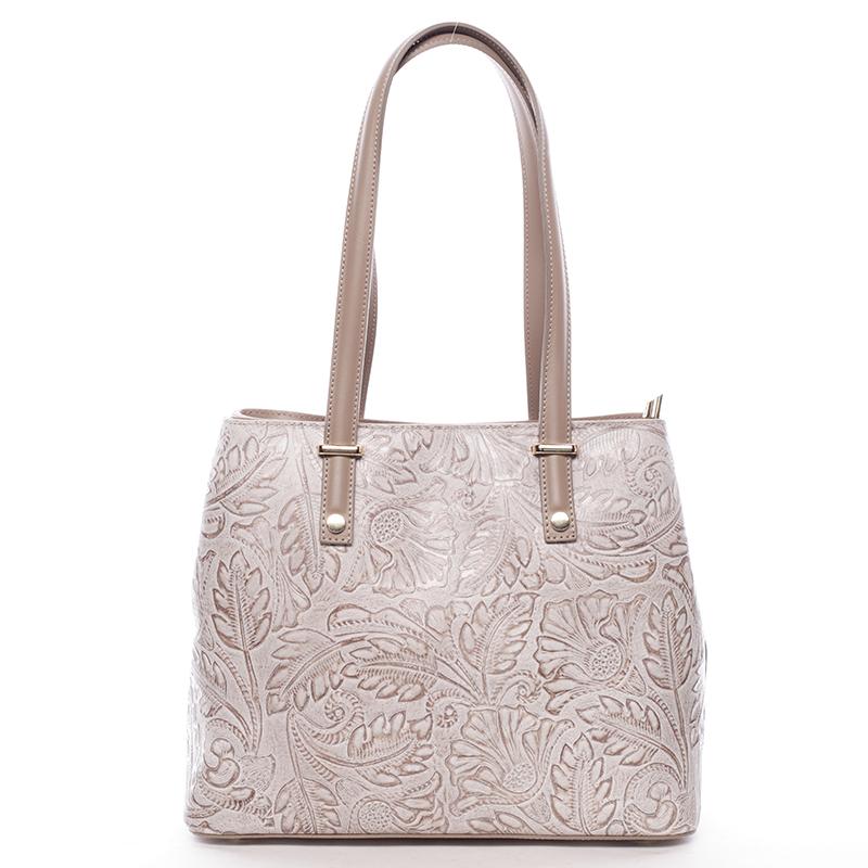 Exkluzívna dámska kožená kabelka taupe - ItalY Logistilla Taupe