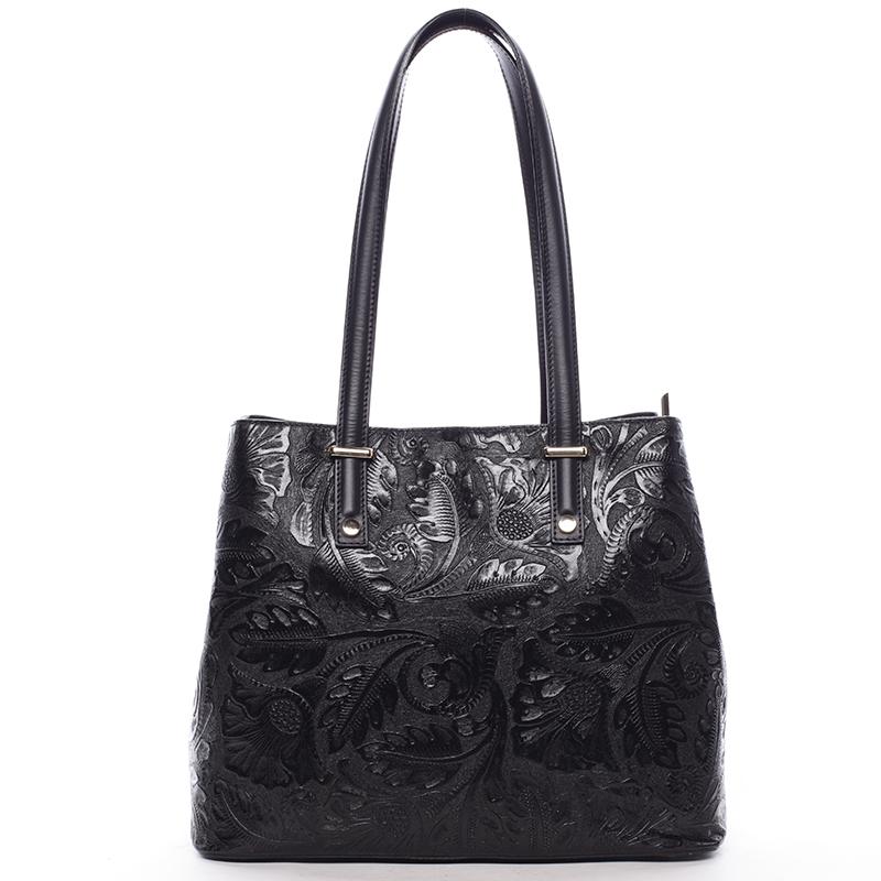 Exkluzívna dámska kožená kabelka čierna - Italo Logistilla čierna