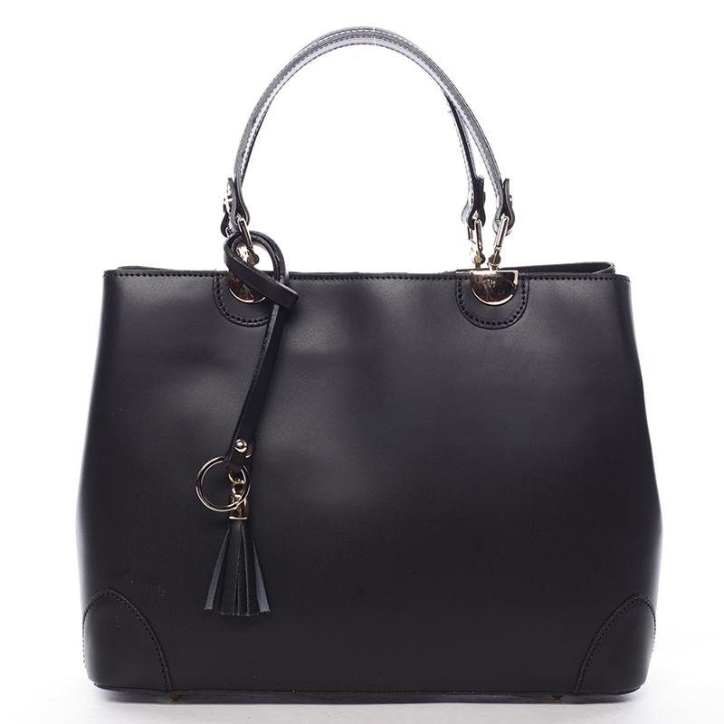 Čierna luxusná kožená kabelka ItalY Roderica čierna
