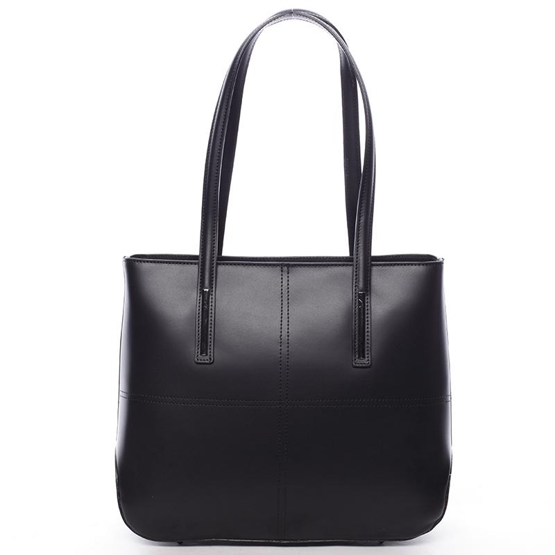 Moderná dámska kožená kabelka čierna - ItalY Adalicia čierna