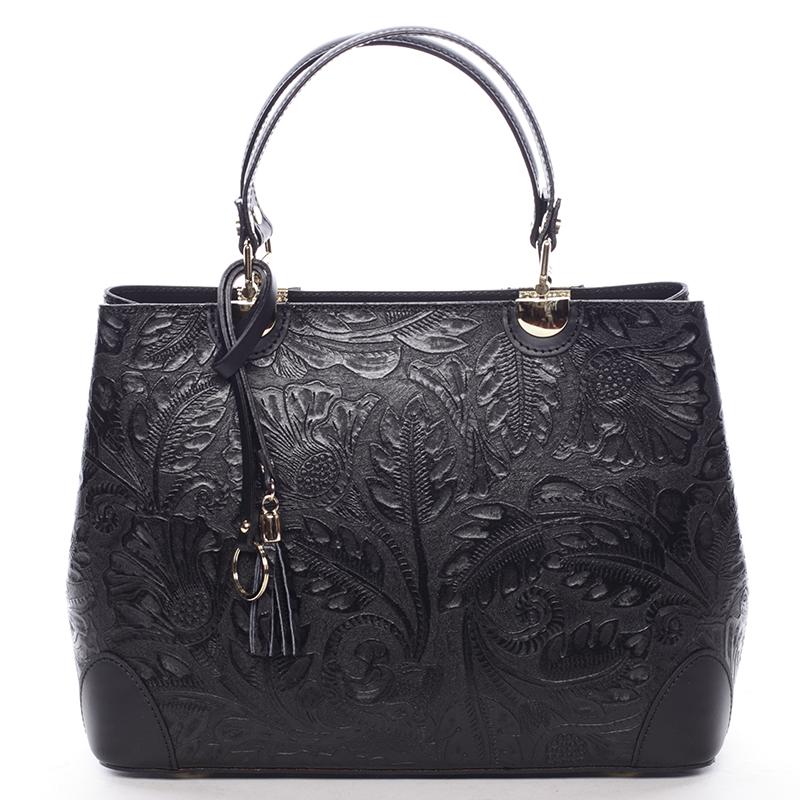 Originálna dámska kožená kabelka čierna - ItalY Mattie čierna