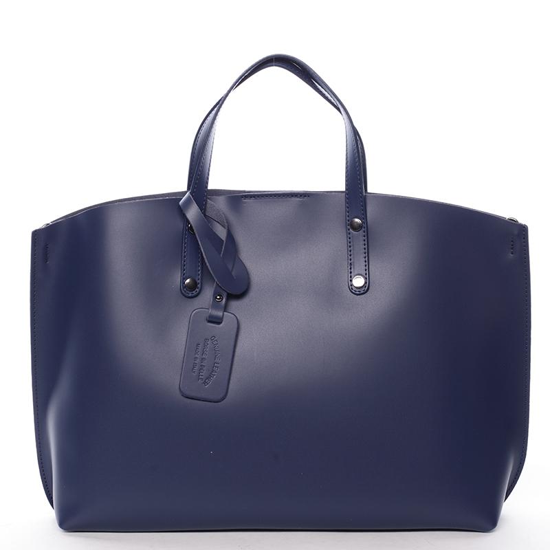 Modrá kožená kabelka do ruky ItalY Jordana modrá