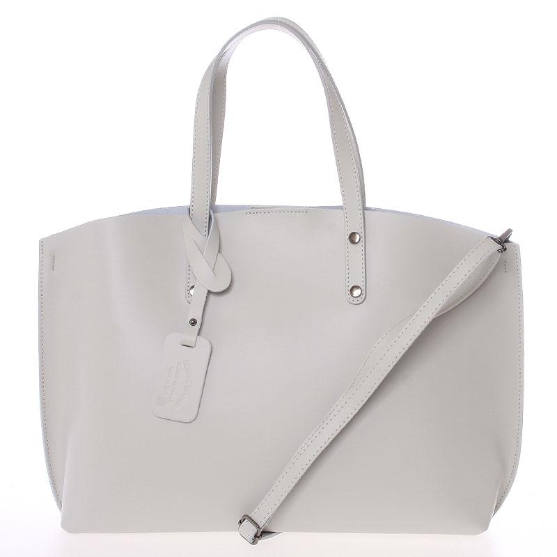 Dámska kožená kabelka svetlo šedá - ItalY Jordana šedá