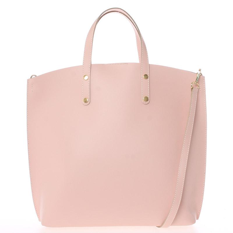 Ružová kožená kabelka do ruky - Italo Sydney ružová