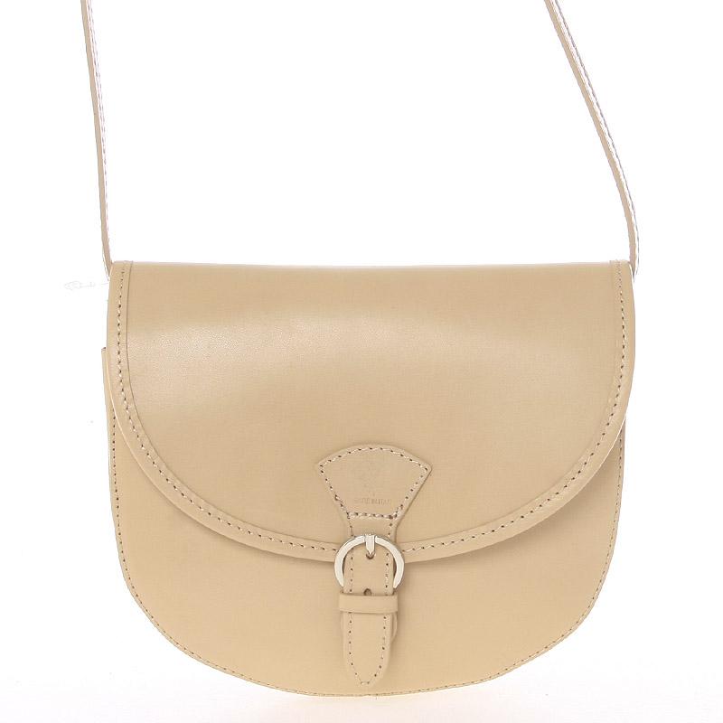 Malá svetlá taupe pevná crossbody kožená kabelka - ItalY EmRoya Taupe