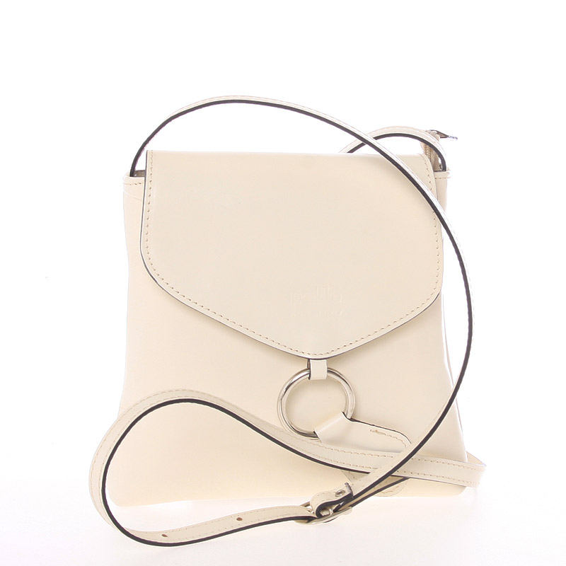 Dámska kožená crossbody kabelka béžová - Italo Saffie béžová