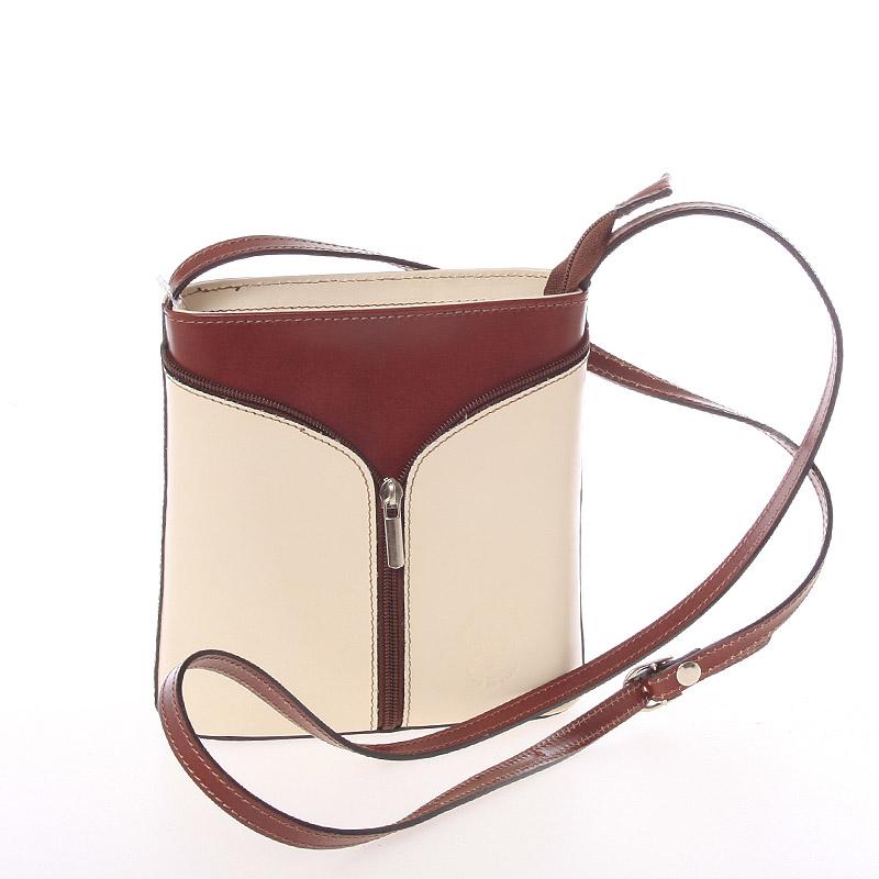 Dámska kožená crossbody kabelka béžovo hnedá - Italo Hallie béžová