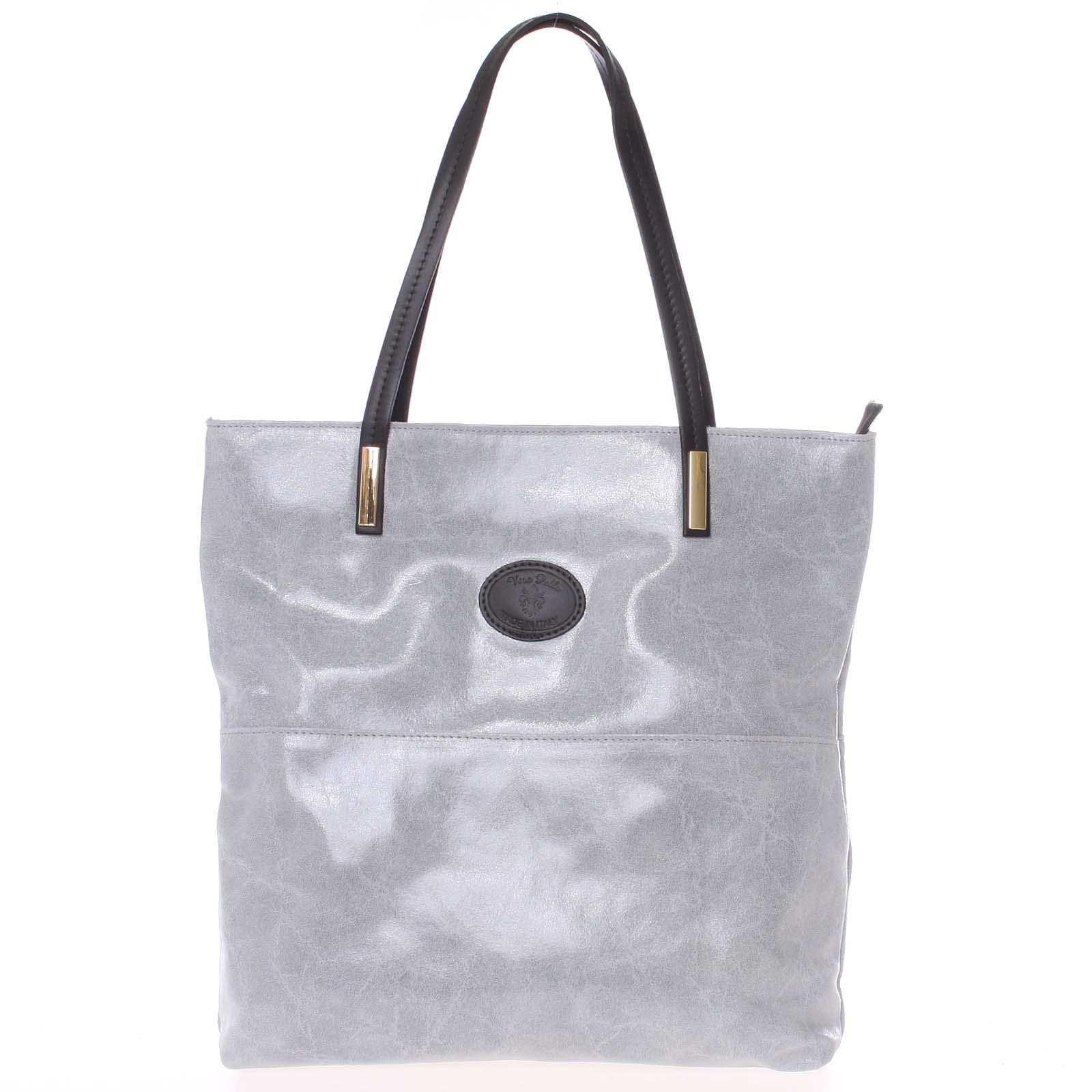 Veľká kožená kabelka cez rameno sivá - ItalY Obelia šedá