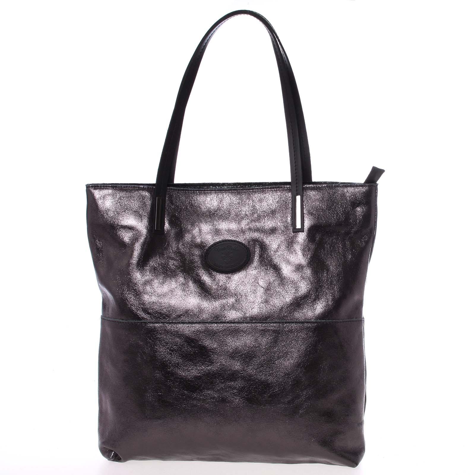 Veľká kožená kabelka cez rameno čierna - ItalY Obelia čierna