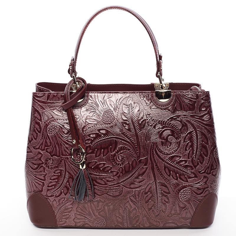 Originálna dámska kožená kabelka vínová - ItalY Mattie vínová