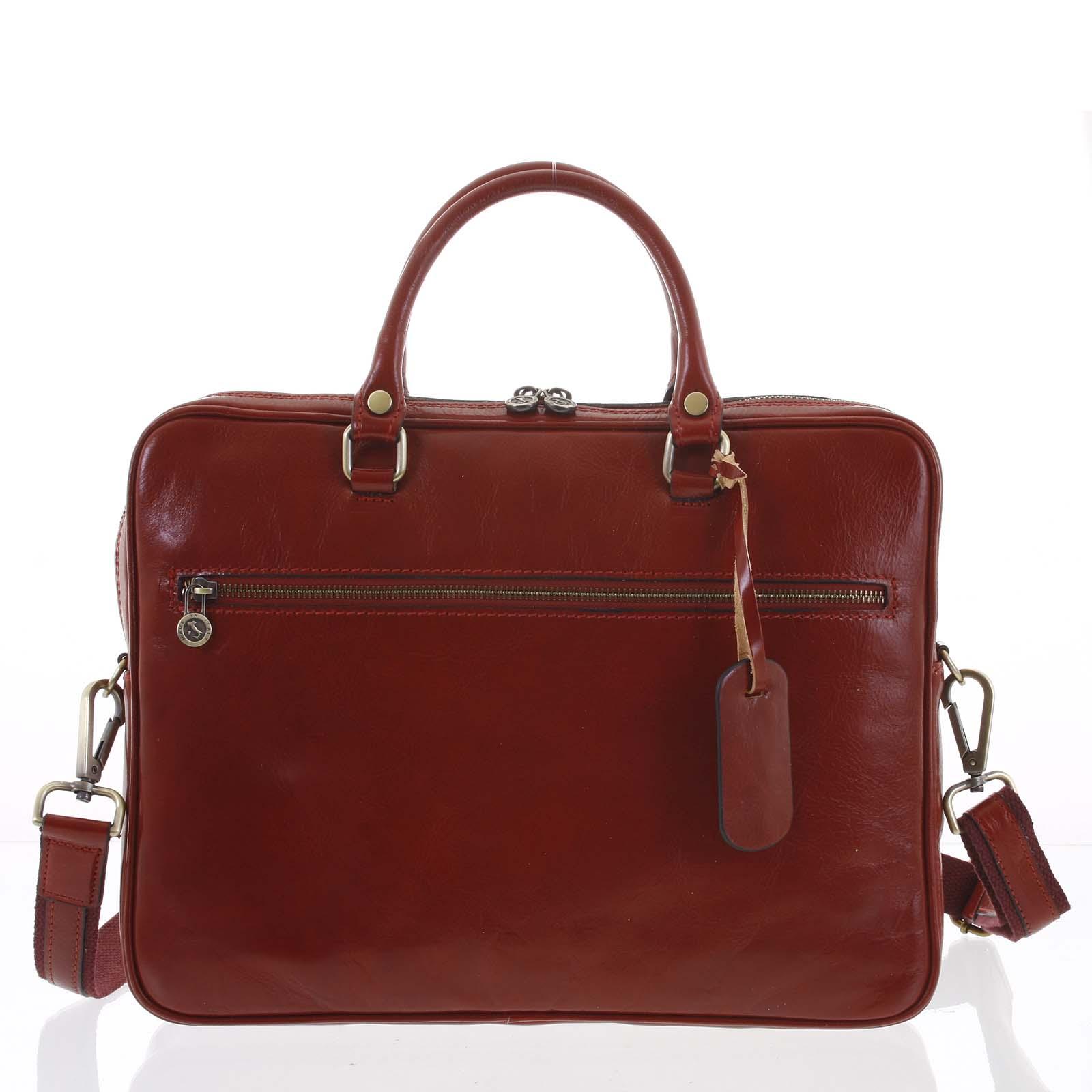 Kožená business taška červená - ItalY Claudio červená