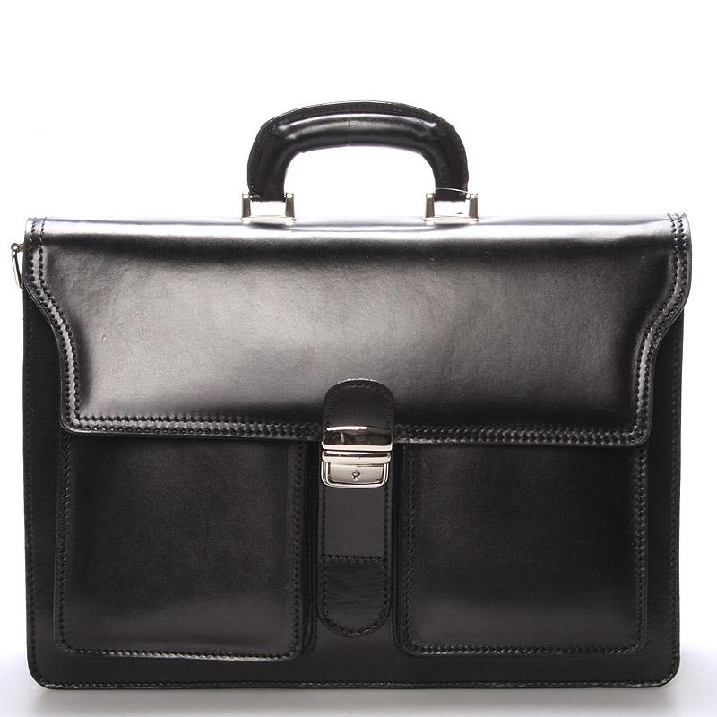 Elegantná pánska kožená aktovka čierna - ItalY K20 čierna