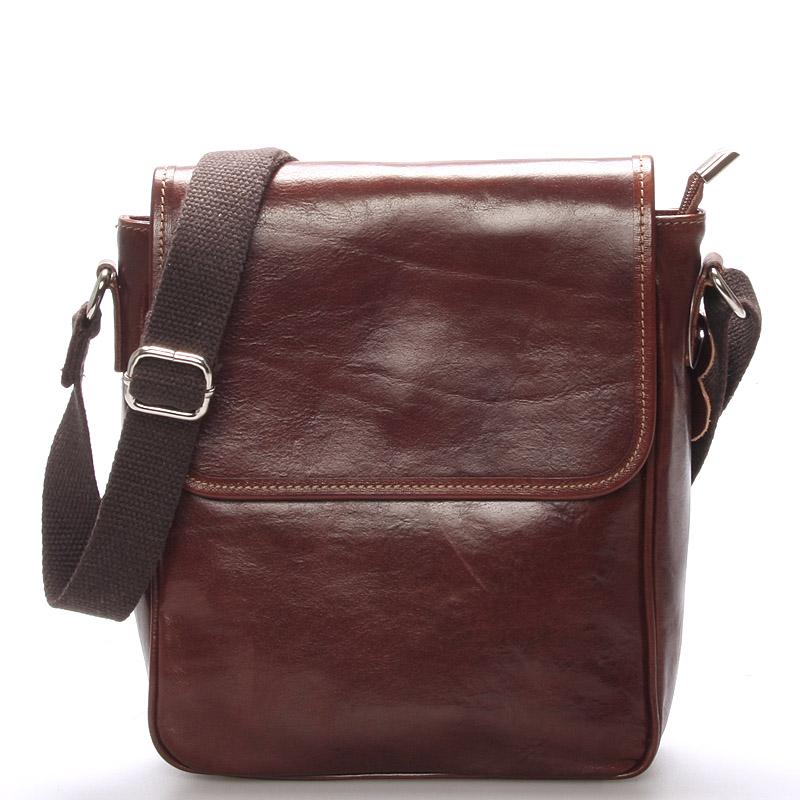 Luxusná hnedá kožená taška cez rameno - ItalY Burcet hnedá