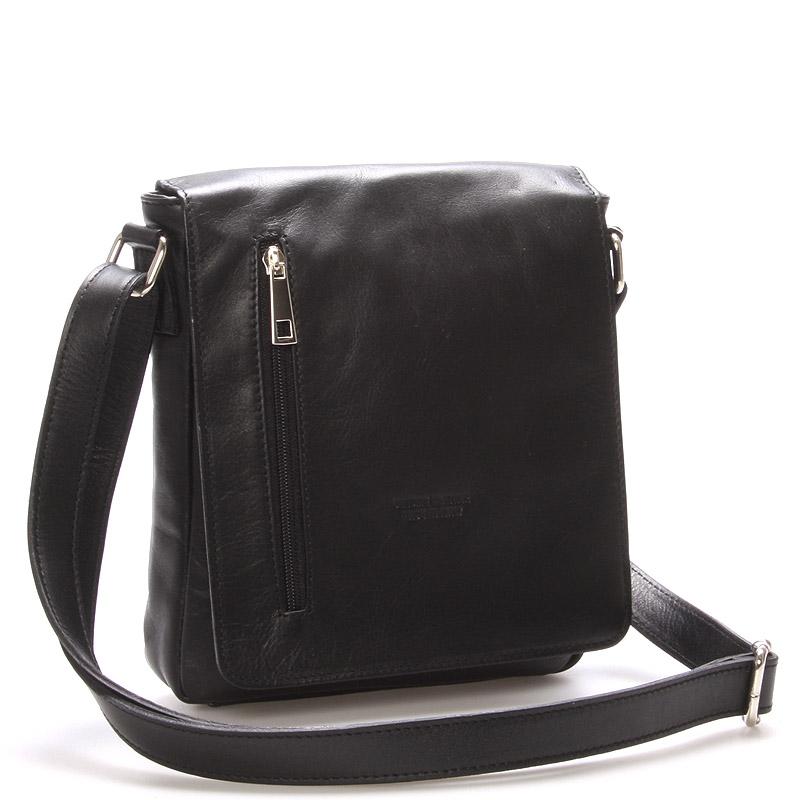 Módna stredná čierna kožená kabelka cez rameno - ItalY Lowell čierna