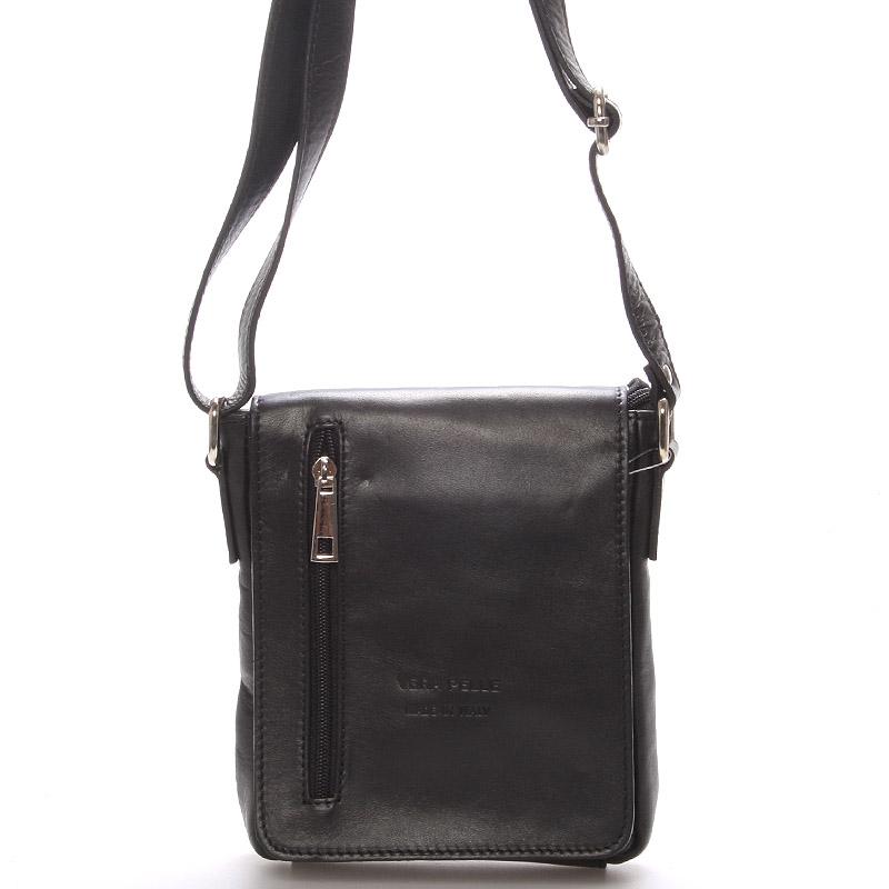 Módna menšia čierna kožená kabelka cez rameno - ItalY Leroi čierna