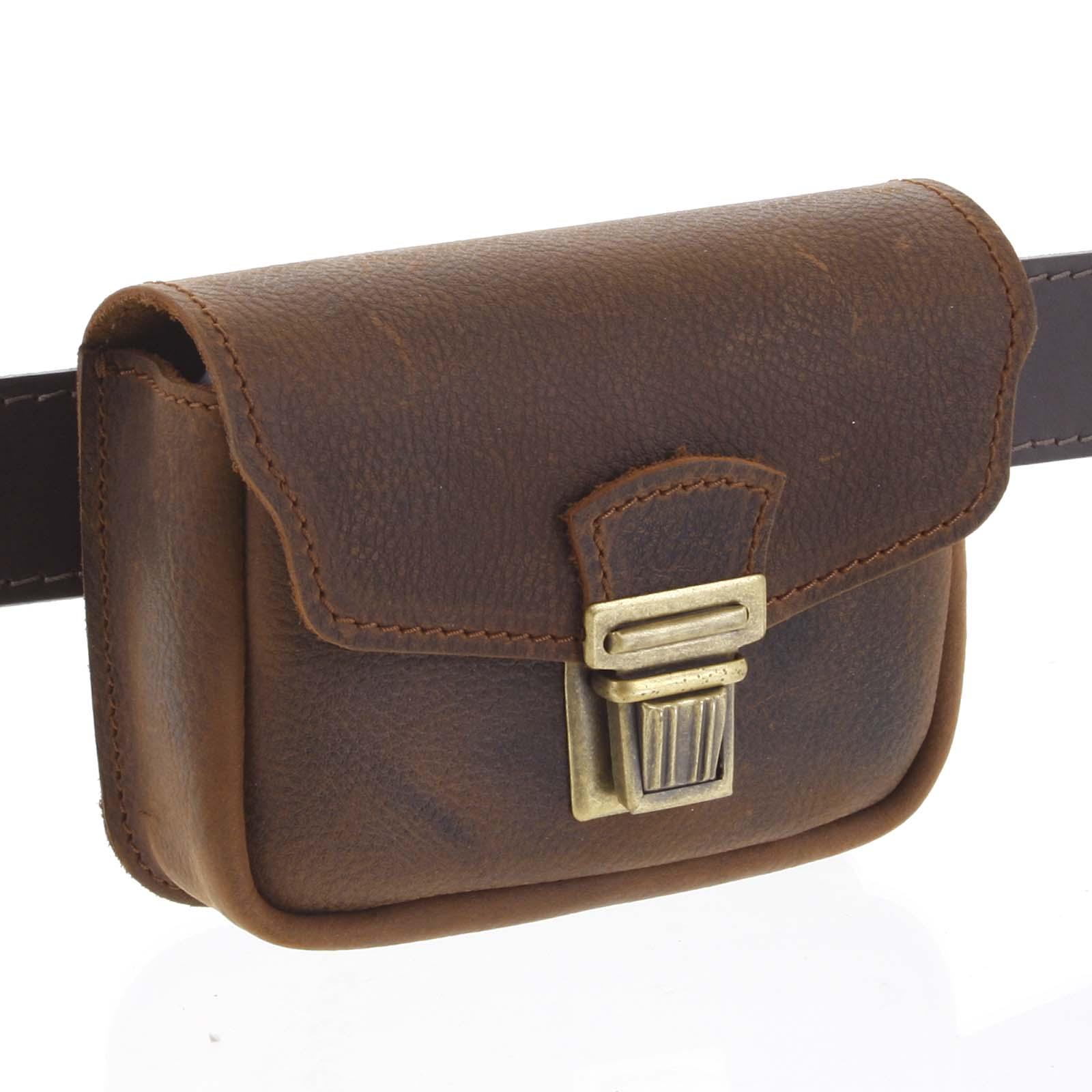 Pánske kožené vrecko na opasok hnedé - Kabea Simplex hnedá