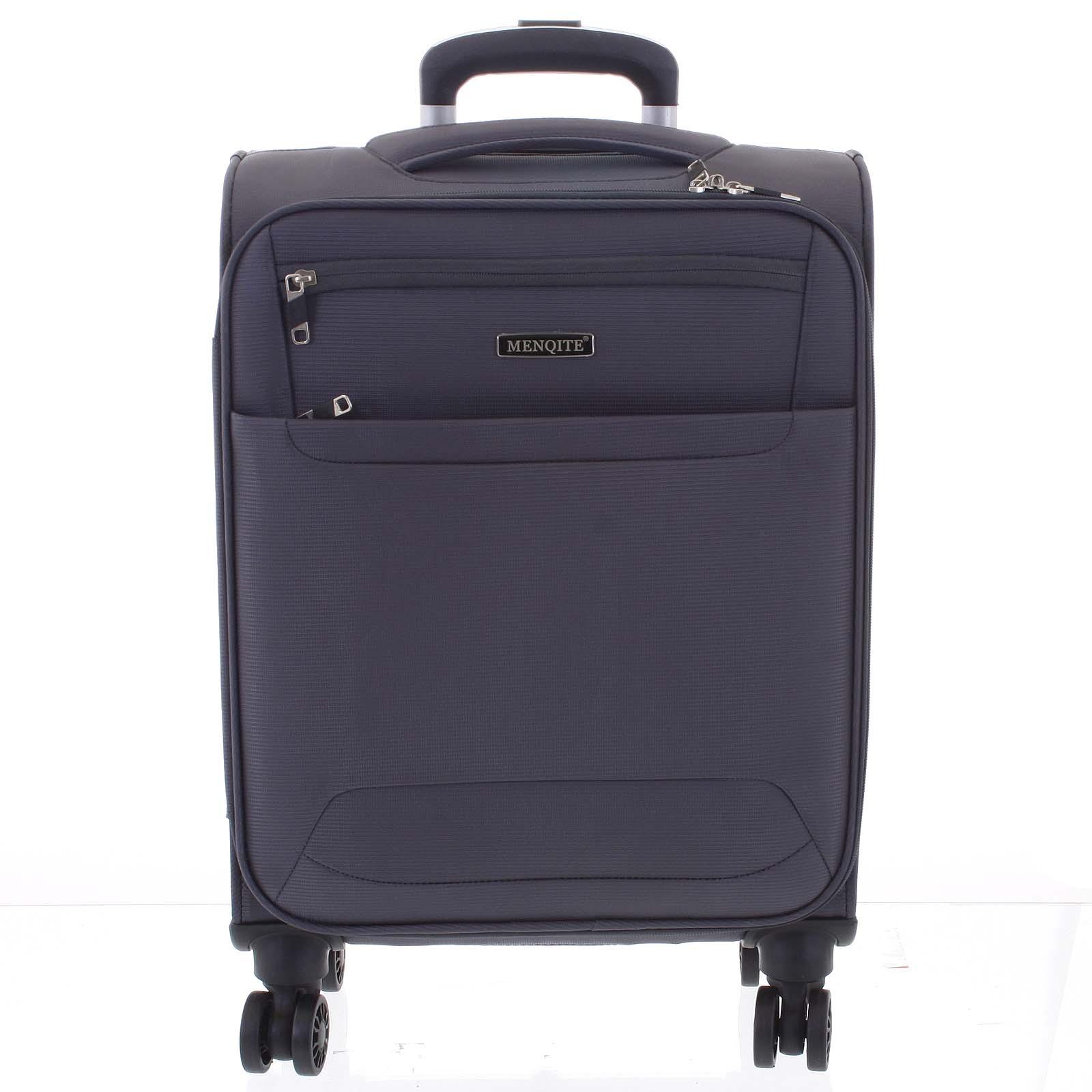 Nadčasový ľahký látkový cestovný kufor sivý - Menqite Timeless M šedá