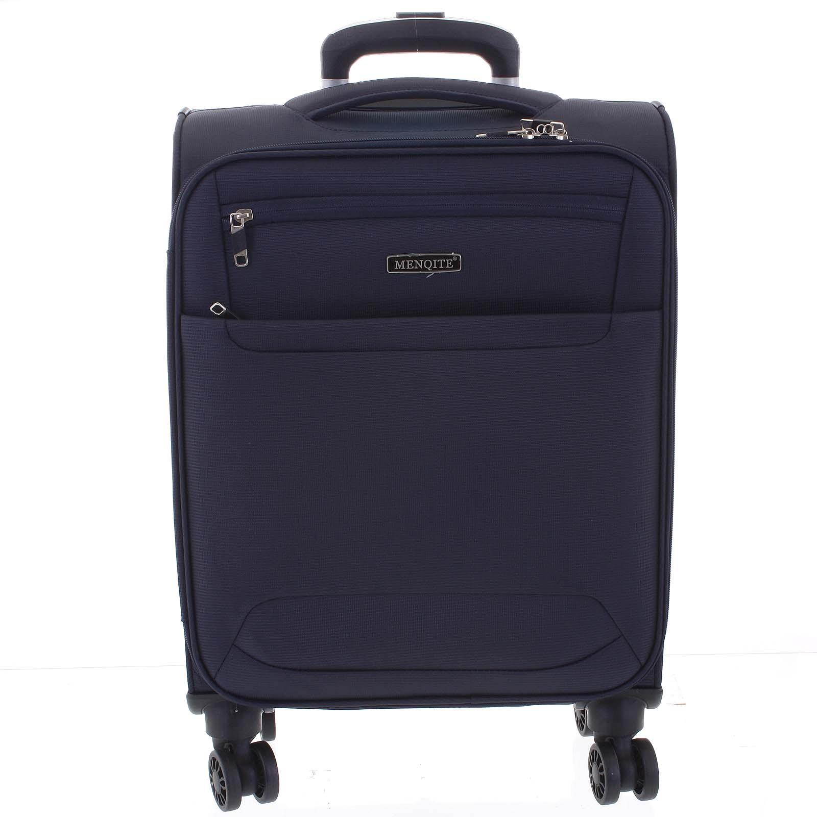 Nadčasový ľahký látkový cestovný kufor tmavomodrý - Menqite Timeless L modrá