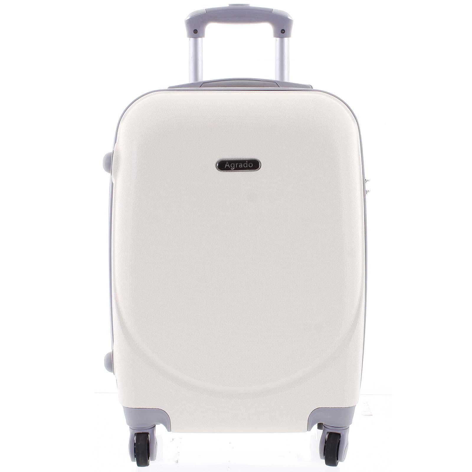 Kvalitný elegantný pevný krémovo biely cestovný kufor - Agrado Peter L biela
