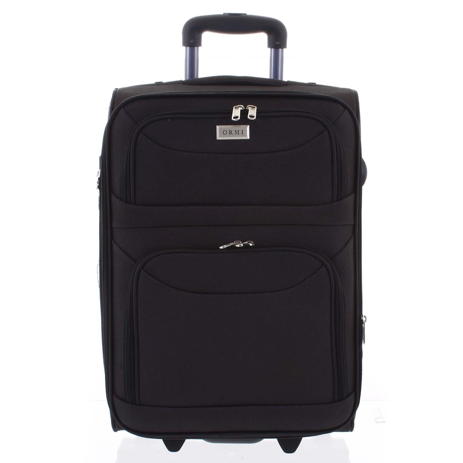 Klasický látkový čierny cestovný kufor - Ormi Stof L čierna
